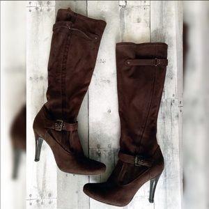Marc Fisher | Brown Zip Up Knee High Heeled Boots